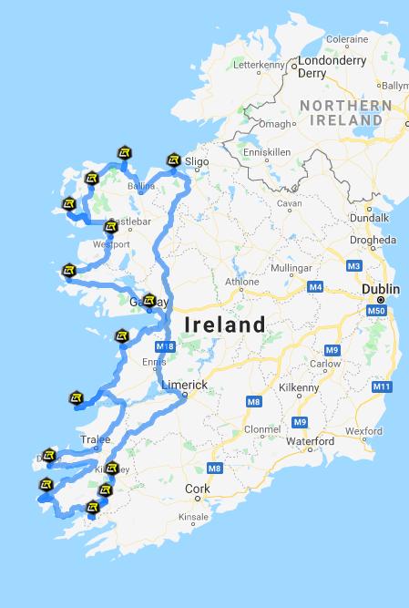 Wild Atlantic Way Tour Route